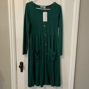Green Long Sleeve Dress